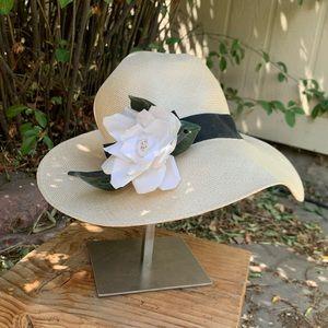 Beige Woven Flower Floppy Hat | OS